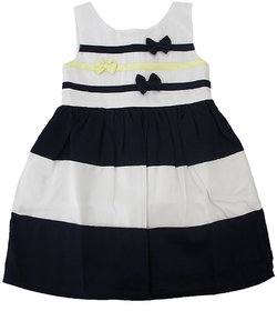 Magic Train Baby Girls Black White Striped Cotton Frock Dress