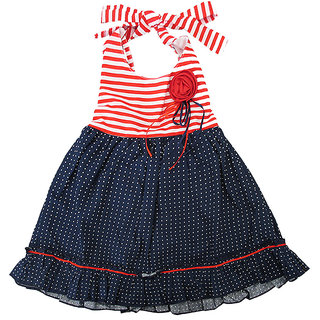 Magic Train Baby Girls Navy Blue Cotton Frock Dress