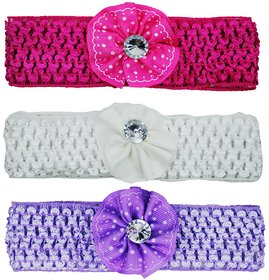 Crochet Cutwork Flower Baby Headband ( Pink , White , Purple ) 3 Pcs Set