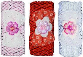 Crochet Cutwork Flower Baby Headband ( Pink, Red, Purple ) 3 Pcs Set
