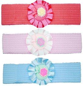 Crochet Cutwork Flower Baby Headband ( Peach , Pink , Blue ) 3 Pcs Set