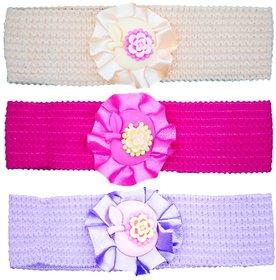 Crochet Cutwork Flower Baby Headband ( Pink , Beige , Purple ) 3 Pcs Set