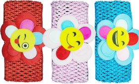 Crochet Cutwork Flower Baby Headband ( Red, Pink, Blue ) 3 Pcs Set