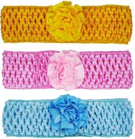 Crochet Cutwork Flower Baby Headband ( Pink , Yellow , Blue ) 3 Pcs Set