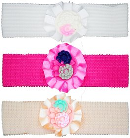 Crochet Cutwork Flower Baby Headband ( Pink , White , Beige ) 3 Pcs Set