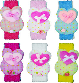 Crochet Cutwork Flower Baby Headband ( Peach, Pink, Blue, Pink, White, Yellow ) 6 Pcs Set