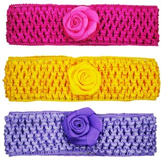 Crochet Cutwork Flower Baby Headband ( Pink , Yellow , Purple ) 3 Pcs Set