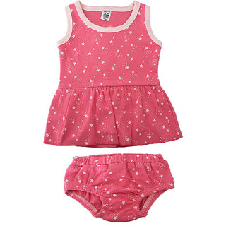 Magic Train Baby Girls Pink Cotton Frock and Panty Set