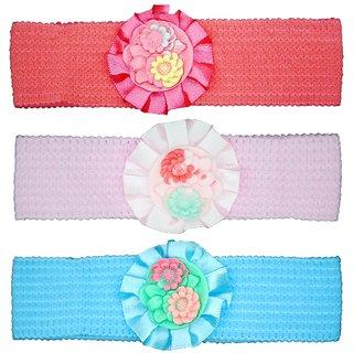Crochet Cutwork Flower Baby Headband ( Pink , Peach , Blue ) 3 Pcs Set