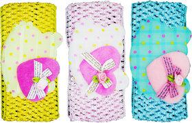 Crochet Cutwork Flower Baby Headband ( Yellow, Pink, Blue ) 3 Pcs Set