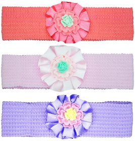 Crochet Cutwork Flower Baby Headband ( Peach , White , Purple ) 3 Pcs Set