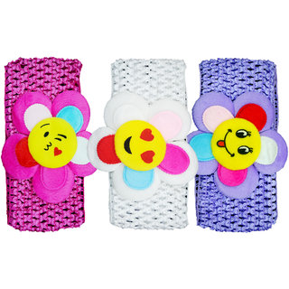 Crochet Cutwork Flower Baby Headband ( Pink, White, Purple ) 3 Pcs Set