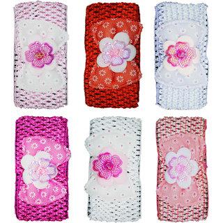 Crochet Cutwork Flower Baby Headband ( Pink, Red, Purple, Pink, White, Peach ) 6 Pcs Set