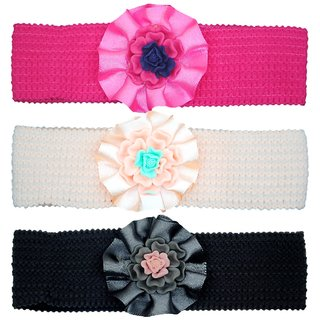 Crochet Cutwork Flower Baby Headband ( Pink , Beige , Black ) 3 Pcs Set