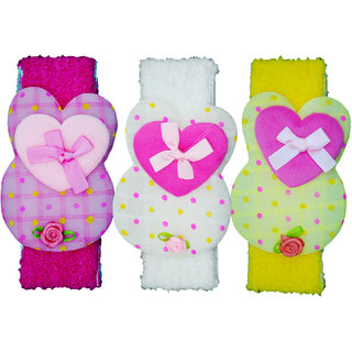 Crochet Cutwork Flower Baby Headband ( Pink, White, Yellow ) 3 Pcs Set