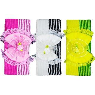 Crochet Cutwork Flower Baby Headband ( Pink White Green ) 3 Pcs Set