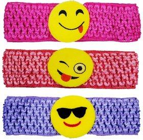 Crochet Cutwork Flower Baby Headband ( Pink , Peach , Purple ) 3 Pcs Set