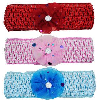Crochet Cutwork Flower Baby Headband (Red, Pink, Blue ) 3 Pcs Set