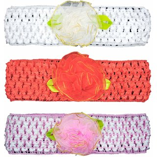 Crochet Cutwork Flower Baby Headband ( White, Peach, Pink ) 3 Pcs Set