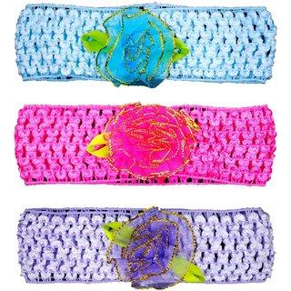 Crochet Cutwork Flower Baby Headband ( Blue , Pink, Purple ) 3 Pcs Set