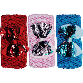 Crochet Cutwork Flower Baby Headband ( Red, Pink, Blue ) 3 Pcs Set