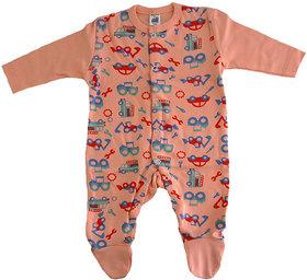 Magic Train Orange Infant Cotton Sleepsuit