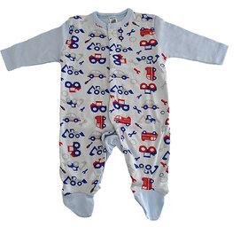 Magic Train Blue Infant Cotton Sleepsuit