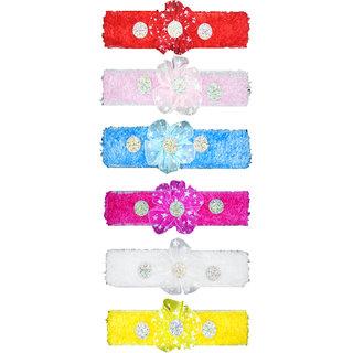 Crochet Cutwork Flower Baby Headband ( Red, Pink, Yellow, Pink, White, Blue ) 6 Pcs Set