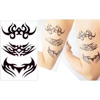 3D Temporary Tattoo Sticker Tribal Totems Black Color Design For Men Makeup Women Girls Hand Arm Wrist Neck Body Leg Back Sexy Tattoo Waterproof Size - ...