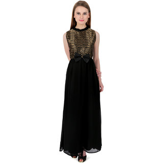 ELYWOMEN Party wear Sleeveless Black Bow Georgette Gown for women