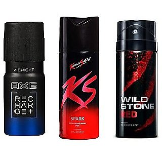 rtex  AXE + KS + Wild Stone (Set of 3 Pcs ) Deo Deodorants Body Spray For Men