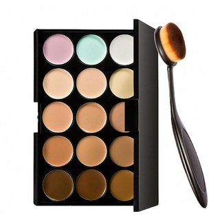 Miss Rose 15 Colors Contour Face Cream Makeup Concealer Palette + Foundation  Makeup Brush