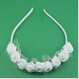 Rose Flower Tiara Mini Crown For Little Girls Birthday Party hair Accessories (White Pack of 4)