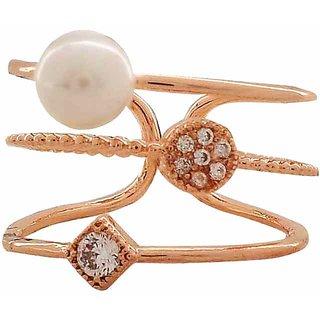 Maayra White Pearl Ring Adjustable Contemporary Dailywear Ring