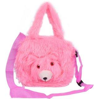 Envie Faux Fur Baby Pink Coloured Zipper Closure Sling Bag