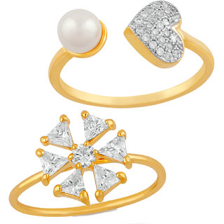 Meia Gold Plated Combo of 2 Immense Love Finger rings Combo with Cubic Zirconia and artificial pearl CO8804754G