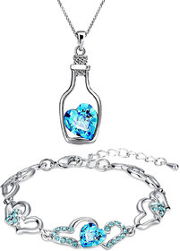 Meia Rhodium Plated Valentine Collection Combo of Bottle Heart Pendant and Heart Link Bracelet with crystals CO8804703R