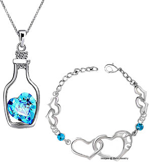 Meia Rhodium Plated Valentine Collection Combo of Alluring Blue Crystal Pendant and Bracelet CO8804705R