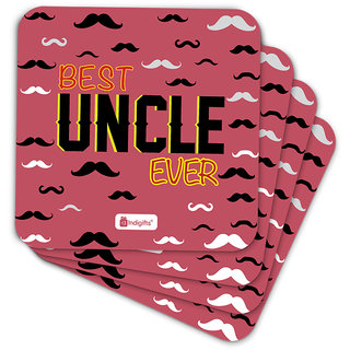 Indigifts Uncle Birthday Gifts Coaster MDF Pink 3.5x3.5 inches Set of 6