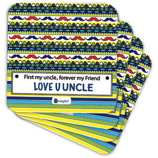 Indigifts Uncle Birthday Gifts Coaster MDF Multicolor 3.5x3.5 inches Set of 6