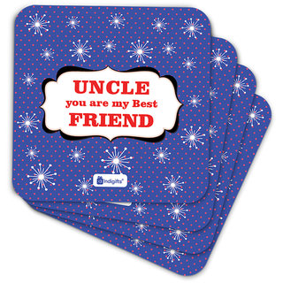 Indigifts Uncle Birthday Gifts Coaster MDF Blue 3.5x3.5 inches Set of 6