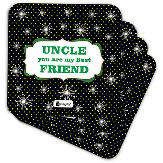 Buy Indigifts Uncle Birthday Gifts Coaster MDF Black 35x35 Inches
