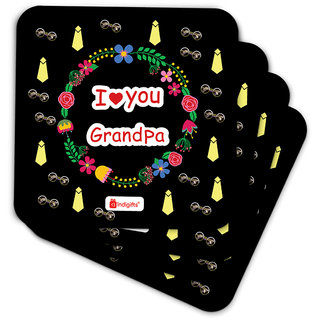 Indigifts Grandfather Birthday Gifts Coaster MDF Black 3.5x3.5 inches Set of 6