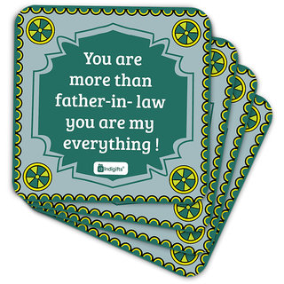 Indigifts Father-in-law Coaster MDF Grey 3.5x3.5 inches Set of 6