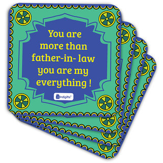 Indigifts Father-in-law Coaster MDF Green 3.5x3.5 inches Set of 6