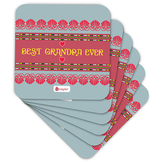 Indigifts Grand Parents Gift Coaster MDF Grey 3.5x3.5 inches Set of 6