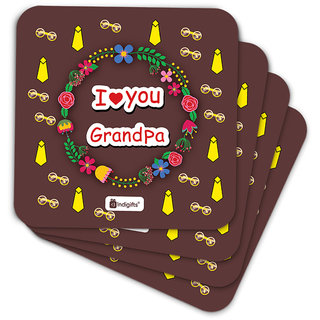 Indigifts Grandfather Birthday Gifts Coaster MDF Brown 3.5x3.5 inches Set of 6