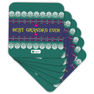 Indigifts Grand Parents Gift Coaster MDF Green 3.5x3.5 inches Set of 6