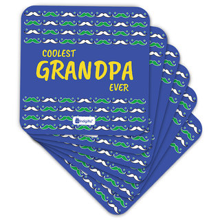 Indigifts Grand Parents Gift Coaster MDF Blue 3.5x3.5 inches Set of 6