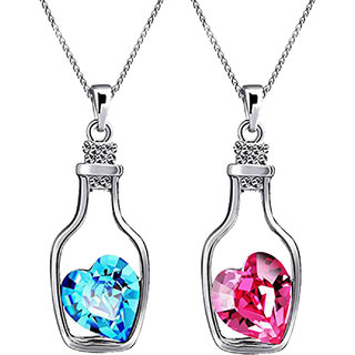 Meia Rhodium Plated Valantine Combo of Solitaire Pink and Blue Crystal Heart Bottle Pendant for Women CO8804710RBluPin